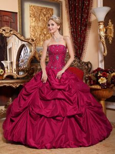 Red Taffeta Pick-ups Beaded Strapless Ball Gown Quinceanera Gown Dress