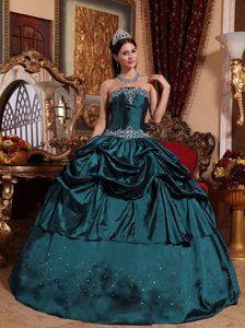 Navy Blue Ball Gown Taffeta Beaded Quinceanera Gown Dresses for Spring