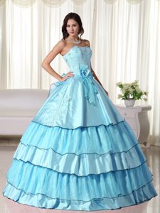 Popular Taffeta Baby Blue Ball Gown Beaded Strapless Dresses for Quince