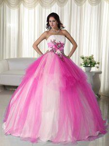 2013 Hot Pink and White Ball Gown Tulle Beaded Strapless Sweet 15 Dresses