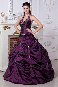 Cheap A-line Elegant Purple Halter Strapless Taffeta Quinceanera Gown Dress