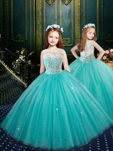 Blue Tulle Clasp Handle Scoop Sleeveless Floor Length Little Girls Pageant Dress Wholesale Appliques