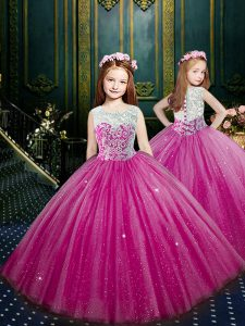 Glorious Scoop Eggplant Purple Tulle Clasp Handle Little Girl Pageant Gowns Sleeveless Floor Length Beading and Appliques