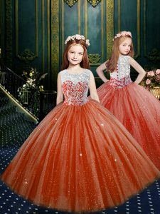 Orange Red Scoop Neckline Appliques Pageant Gowns For Girls Sleeveless Clasp Handle