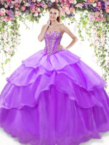 Ruffled Floor Length Lavender Sweet 16 Quinceanera Dress Sweetheart Sleeveless Lace Up