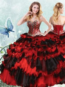 Stylish Organza Sweetheart Sleeveless Lace Up Beading and Ruffled Layers and Sequins Vestidos de Quinceanera in Red And Black