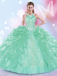 Elegant Halter Top Apple Green Sleeveless Floor Length Appliques and Ruffles Lace Up Sweet 16 Dresses