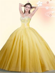 Admirable Sleeveless Tulle Floor Length Lace Up Quinceanera Dresses in Gold with Beading