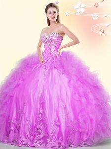 Sleeveless Asymmetrical Beading and Appliques and Ruffles Lace Up Quinceanera Gowns with Lilac