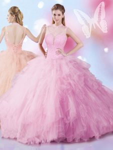 Colorful Tulle Sleeveless Lace Up Beading and Ruffles Quinceanera Dresses in Rose Pink