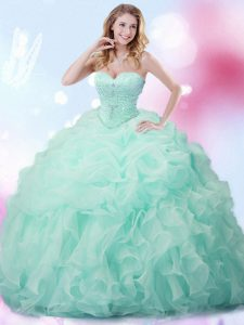 Apple Green Organza Lace Up Sweetheart Sleeveless With Train 15 Quinceanera Dress Brush Train Beading and Ruffles and Pick Ups