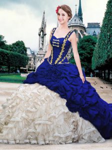 Trendy Blue And White Organza and Taffeta Lace Up Straps Sleeveless With Train Sweet 16 Dresses Brush Train Beading and Ruffles and Pick Ups