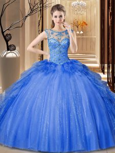 Colorful Scoop Sleeveless Tulle and Sequined Sweet 16 Dresses Ruffles Lace Up