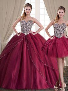 Three Piece Sleeveless Beading Lace Up 15th Birthday Dress