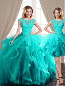 Latest Three Piece Aqua Blue Lace Up Scoop Beading and Appliques and Ruffles Ball Gown Prom Dress Tulle Cap Sleeves Brush Train