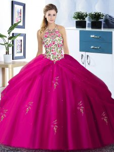 Excellent Halter Top Fuchsia Ball Gowns Embroidery and Pick Ups 15 Quinceanera Dress Lace Up Tulle Sleeveless Floor Length