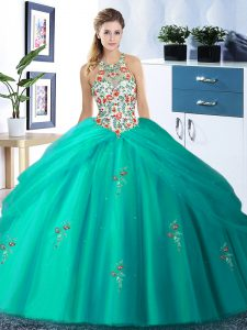 Great Pick Ups Halter Top Sleeveless Lace Up 15 Quinceanera Dress Turquoise Tulle