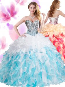 High End Blue And White Quinceanera Gowns Military Ball and Sweet 16 and Quinceanera with Beading and Ruffles Sweetheart Sleeveless Lace Up