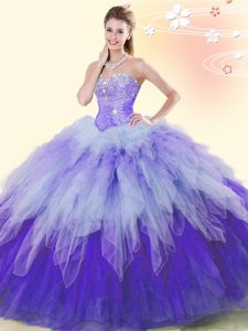Smart Tulle Sleeveless Floor Length Sweet 16 Dresses and Beading and Ruffles