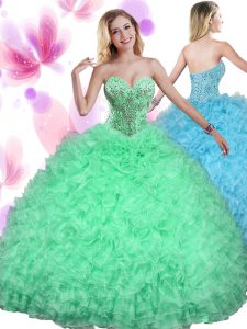 Lace Up Sweet 16 Quinceanera Dress Beading and Ruffles Sleeveless Floor Length