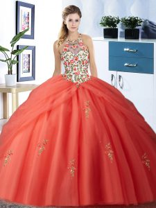 Low Price Halter Top Orange Red Sleeveless Embroidery and Pick Ups Floor Length Ball Gown Prom Dress