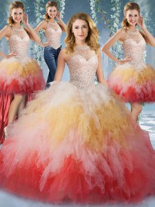 Four Piece Halter Top Beading and Ruffles Quince Ball Gowns Multi-color Lace Up Sleeveless Floor Length