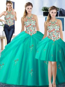 Pretty Three Piece Turquoise Halter Top Lace Up Embroidery and Pick Ups Quinceanera Dress Sleeveless