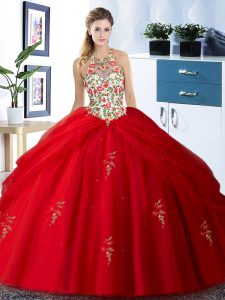 Red Ball Gowns Tulle Halter Top Sleeveless Embroidery and Pick Ups Floor Length Lace Up 15th Birthday Dress