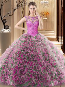 Multi-color Fabric With Rolling Flowers Lace Up Scoop Sleeveless Sweet 16 Quinceanera Dress Sweep Train Beading