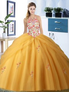Fashion Halter Top Gold Tulle Lace Up Vestidos de Quinceanera Sleeveless Floor Length Embroidery and Pick Ups
