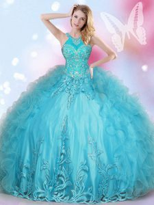 Halter Top Floor Length Ball Gowns Sleeveless Aqua Blue Vestidos de Quinceanera Lace Up