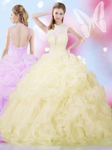 Pretty Organza Sleeveless Floor Length Quinceanera Gowns and Beading and Ruffles and Pick Ups
