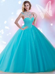 Tulle Sleeveless Floor Length Sweet 16 Dress and Beading and Sequins