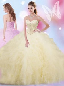 Light Yellow Ball Gowns Tulle Sweetheart Sleeveless Beading and Ruffles Floor Length Lace Up Sweet 16 Quinceanera Dress