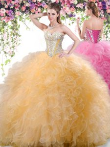 Edgy Gold Lace Up Quince Ball Gowns Beading and Ruffles Sleeveless Floor Length