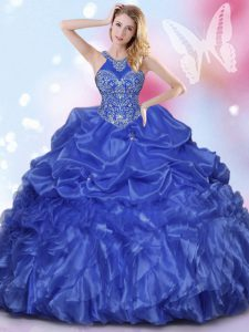 Halter Top Royal Blue Sleeveless Floor Length Appliques and Ruffles and Pick Ups Lace Up 15th Birthday Dress