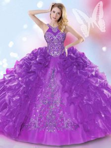 Dazzling Halter Top Sleeveless Appliques and Ruffled Layers Lace Up 15 Quinceanera Dress