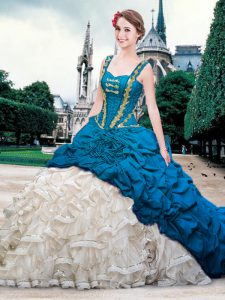 Blue And White Organza and Taffeta Lace Up Straps Sleeveless With Train 15 Quinceanera Dress Brush Train Beading and Ruffles and Pick Ups