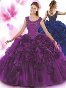 Scoop Sleeveless Sweet 16 Quinceanera Dress Floor Length Beading and Ruffles Dark Purple Organza