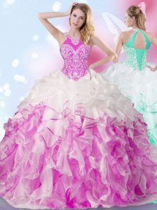 Halter Top Sleeveless Beading and Ruffles and Pick Ups Lace Up Quince Ball Gowns