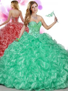 Delicate Green Sleeveless Floor Length Beading and Ruffles Lace Up Sweet 16 Dresses