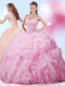 Rose Pink Vestidos de Quinceanera Military Ball and Sweet 16 and Quinceanera with Beading and Ruffles and Pick Ups Sweetheart Sleeveless Brush Train Lace Up