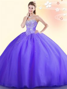 Sleeveless Floor Length Beading Lace Up Vestidos de Quinceanera with Purple