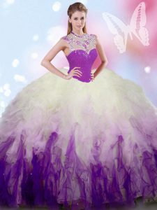 White And Purple Ball Gowns High-neck Sleeveless Tulle Floor Length Zipper Beading and Ruffles 15th Birthday Dress