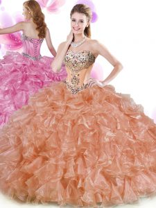 Rust Red and Peach Lace Up 15th Birthday Dress Beading and Ruffles Sleeveless Floor Length