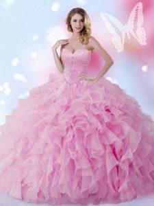 Modest Sleeveless Beading and Ruffles Lace Up Vestidos de Quinceanera