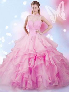 Custom Fit Ball Gowns 15 Quinceanera Dress Rose Pink High-neck Tulle Sleeveless Floor Length Lace Up