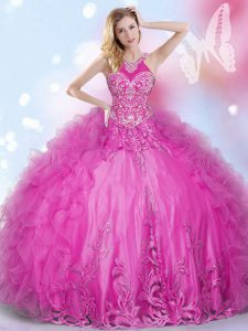 Elegant Halter Top Hot Pink Sleeveless Beading and Appliques and Ruffles Floor Length Quinceanera Gown