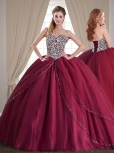 Dynamic Burgundy Tulle Lace Up Quinceanera Dresses Sleeveless With Brush Train Beading