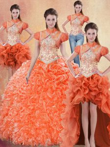 Chic Four Piece Straps Sleeveless Organza Quince Ball Gowns Beading and Ruffles Brush Train Lace Up